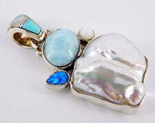 Sterling AJ Navajo Larimar, Pearl, Opal, Mother of Pearl Pendant 10.8 Grams