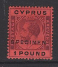 CYPRUS SG102s 1924 £1 PURPLE & BLACK/RED SPECIMEN MTD MINT