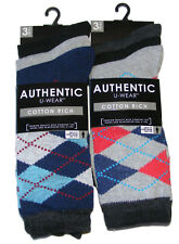 6 PAIRS OF AUTHENTIC MENS COLOUR ARGYLE DIAMOND COTTON RICH SOCKS - UK SIZE 6-11