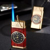 Unique Jet Lighter windproof Working Clock Refillable Gas Lighter box