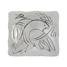 Decorative Square Plate, Handmade Solid Aluminum, Dove Bird Design, 3.7''x3.7''