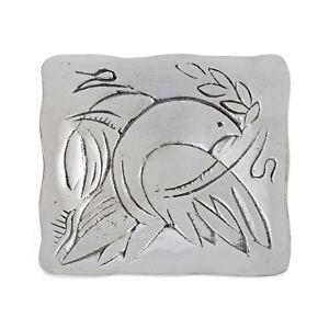Decorative Square Plate, Handmade Solid Aluminum, Dove Bird Design, 3.7''x3.7''
