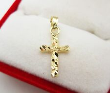 Womens Babies 10k Yellow Nugget Gold Cross Pendant Gold Crucifix Charm