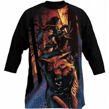 GNU snowboard skateboard surf TEMPLE 3/4 SLEEVE TEE-SHIRT mens LARGE BLACK~NEW~!