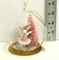 Retro Pink Glitter Bunny Ballerina Inside Glass Ball Christmas Tree Ornament NEW