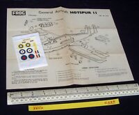 1960s Vintage FROG Instructions & Decals (No Kit) General Aircraft Hotspur (C285