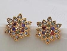 18K Gold Filled - Colorful Flower Amethyst Ruby Emerald Topaz Party Earrings DS
