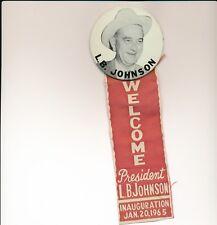 """1965 LBJ Lyndon Johnson 3"""" litho with ribbon inaugural political item - Texas TX"""