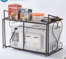 2 Tier Brown Iron Microwave oven Rack Stand Storage Holder Kitchen Corner Shelf