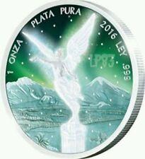 2016 FROZEN AURORA LIBERTAD Mexico Rhodium 1 Oz Silver Coin.