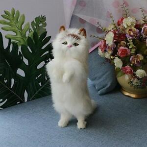 Realistic Lifelike Cat Animals Model Plush Toy Stuffed Fluffy Doll Kid Xmas UK