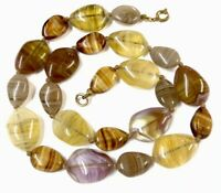 Vintage Hand Knotted Faux Agate Glass Pebble Bead 18 Inch Necklace GIFT BOXED