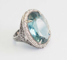 Antique ornate filigree sterling silver and large aquamarine ring size 3.5