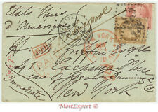 France cover 1872 From Biarritz to New York (USA) *** Many cancels - Steamer