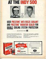 1966 Print Ad of Prestone Anti-Freeze Lotus Drivers Al Unser Jim Clark Indy 500