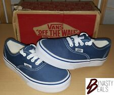 """NIB VANS Authentic """"Off The Wall"""" navy/true white sneakers kids size 12.5"""
