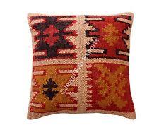 Indian Jute Cushions Handmade Kilim Euro Sham Vintage Jute Cushion Cover Throw