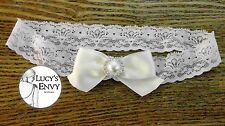 Ivory Pearl Ribbon Lace Garter Wedding Bridal Lingerie 60cm by Lucy's Envy L113