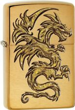 Zippo Sparkling Golden Dragon Design Brushed Brass Windproof Lighter 29725 *NEW*