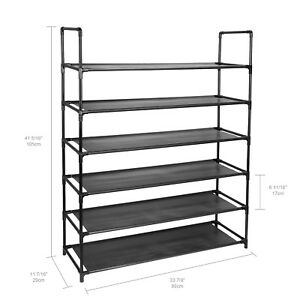 6-Tier Shoe Rack Space Storage Organizer hold up to 36 Pairs shoes Household NEW