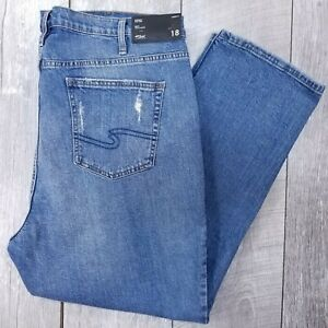 Silver Jeans Frisco Womens Plus 18 40x28 Distressed High Rise Mom Straight J213