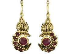 CE166 VICTORIAN inspired Genuine 9K Gold Natural Ruby CRESCENT Moon Earrings