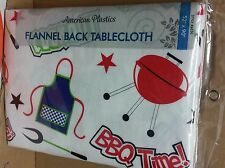 """FLANNEL BACK VINYL TABLECLOTH 52"""" x 90"""", SUMMER, BBQ TIME, COOKOUT by AP"""