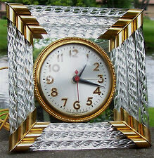 Vintage Sessions Alarm Clock Glass Tube, Brass & Mirror, Works, Excellent!