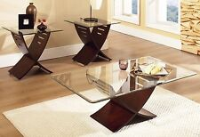 Modern Table Set 3 Piece Wood Glass Top Coffee Cocktail End Accent Livingroom