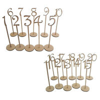 1 to 20 Wooden Table Numbers with Holder Base for Wedding Party Decoration W5T3