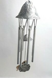 """Beautiful Pewter-like """"Frontier"""" Wind Chimes with Flower Vine Design Carson 1996"""