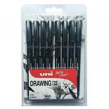 Uni-Ball Pin Fine Line Drawing Pen Set of 8 Black Waterproof Ink 0.05 to 0.8 mm
