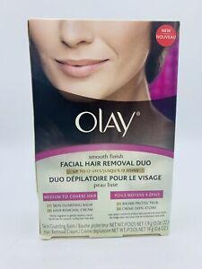 NEW OPEN BOX Olay Smooth Finish Facial Hair Removal Duo Medium to Coarse Hair