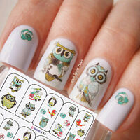 2 Sheets Nail Art Water Transfer Sticker Decals Cute Animal Owl Elephant Pattern