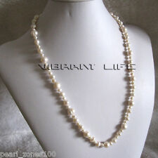 "24"" 4-10mm White Freshwater Pearl Necklace Strand Jewelry AC"