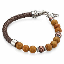 Fred Bennett Bracelet Stainless Steel Brown Bead & Leather Bracelet B4872
