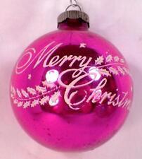 Merry Christmas Ornament Mercury Glass Ball Pink White Holly Shiny Brite #212