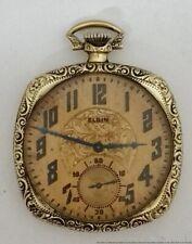Antique Elgin 12s 17j Running Mens Art Deco Cushion Case Pocket Watch Grade 345