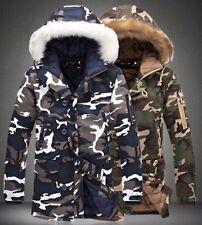 Mens Military Jacket Fur Hoodie Winter Design Coat Fashion Fur Warm Smart Camo