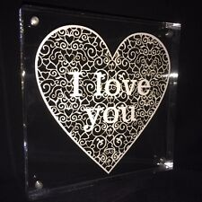 Framed filigree heart papercut - 'I love you' or plain - beautiful gift or decor