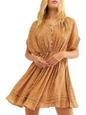 FREE PEOPLE Womens Gold Short Sleeve Above The Knee Sheath Dress Size: S