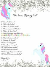 Who Knows Mummy Best Baby Shower Game Cute UNICORN SILVER GLITTER 20 players