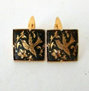 ANTIQUE VTG DAMASCENE IRON 24K GOLD FLORAL BIRD CUFFLINKS
