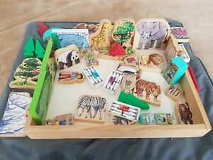 Mellisa And Doug Wooden Zoo Pretend Play & book