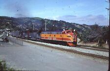 OrigSlide-SOUTHERN PACIFIC RR #6051 EMD E9A w/train leaving Martinez CA 4-28-85