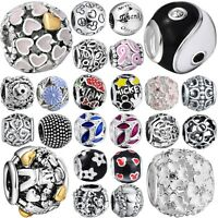 New Women Jewelry 925 Sterling Silver Round Charm Bead For European Diy Bracelet
