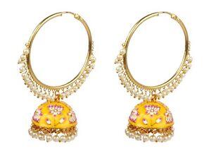 Fabulous Amazing Style Gold Plated Polki Indian Earrings Wedding Wear Jewellery