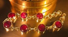 Genuine 925 Solid Sterling Silver and Natural Ruby Gemstone Bracelet