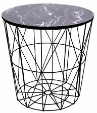 Geometric Wire Metal Occasional Side Table With Marble Effect Top
