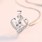 Heart Swirl Stone 925 Sterling Silver Pendant Chain Necklace Womens Jewellery